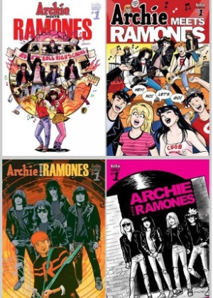 """As quatro capas da primeira edição da HQ """"Archie Meets Ramones"""" - Divulgação"""