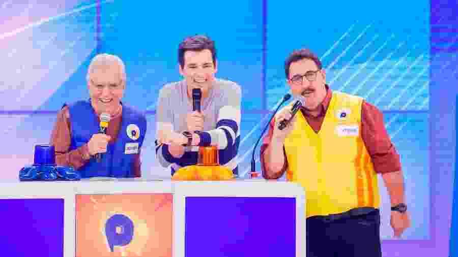 Celso Portiolli apresenta Passa ou Repassa, quadro do Domingo Legal, com Carlos Alberto de Nóbrega e Ratinho - Beatriz Nadler/SBT