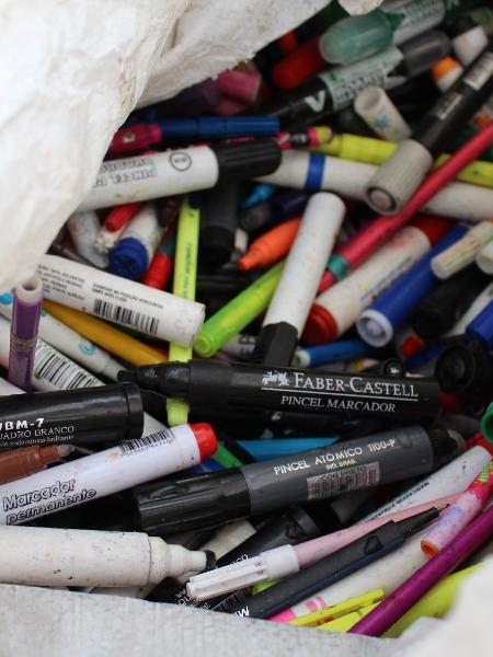 Instrumentos de escrita destinados a reciclagem - Divulgação