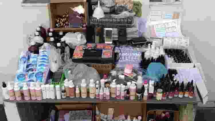Polícia Civil de Minas apreendeu material de blogueira que vendia cosméticos falsificados - Divulgação/PCMG - Divulgação/PCMG