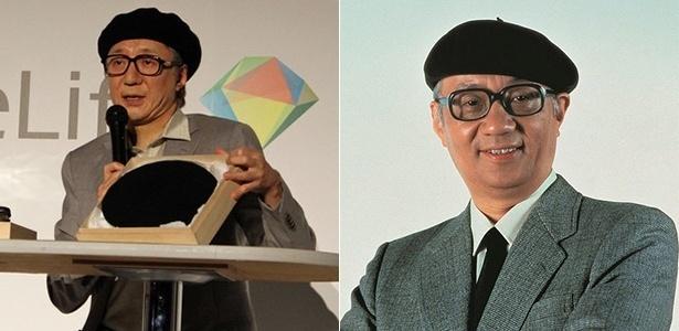 Makoto Tezuka (à esquerda), filho de Osamu Tezuka (à direita), apareceu praticamente idêntico ao pai em evento para divulgar teste de DNA - Reprodução/AWN