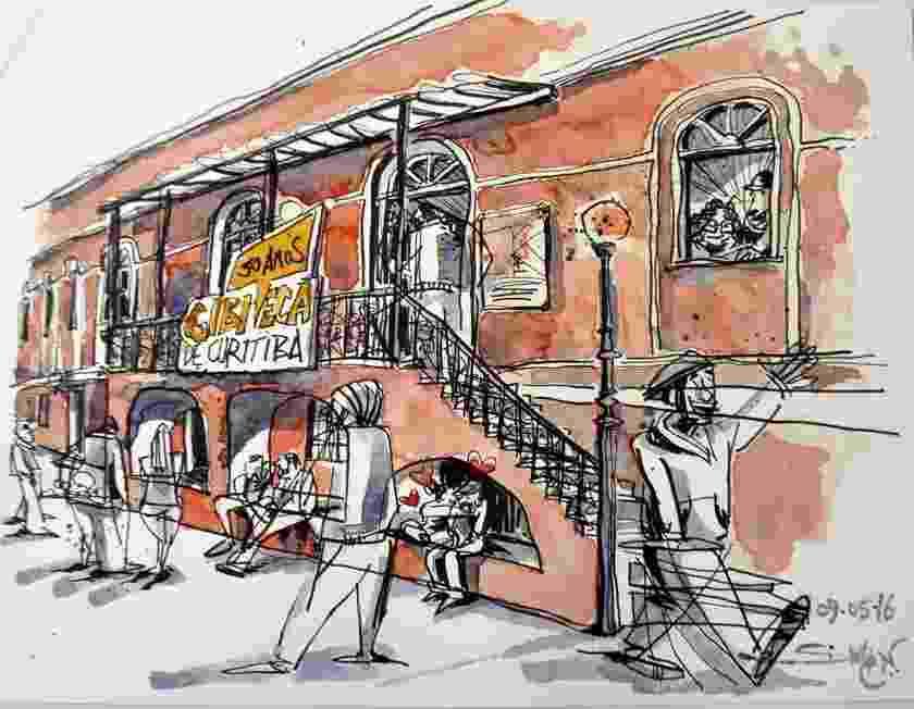 """Exposição """"Urban Sketchers desenham a Gibiteca de Curitiba"""" - Divulgação/Simon Taylor"""