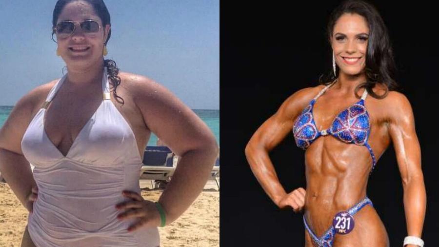 Nathalia um pouco depois de iniciar a perda de peso e em sua primeira competição como fisiculturista.  - Arquivo pessoal