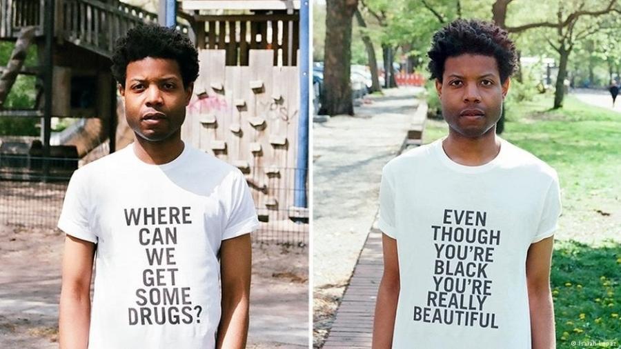 """Camisetas de Isaiah Lopaz denunciam racismo: """"Onde conseguimos comprar drogas?"""" e """"Mesmo sendo negro, você é bonito"""" - Isaiah Lopaz"""