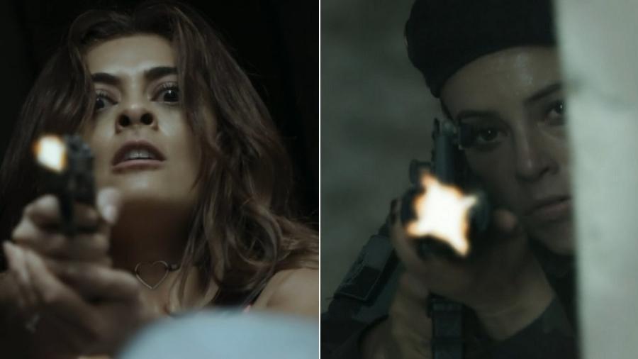 """Bibi e Jeiza trocam tiros em """"A Força do Querer"""" - Montagem/Reprodução/TV Globo"""