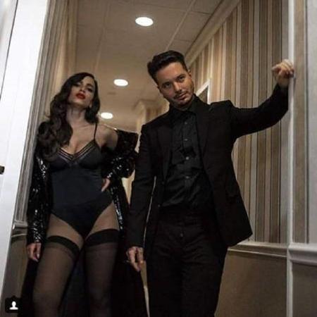 """Anitta e o colombiano J Balvin na gravação de """"Downtown"""" - Reprodução/Instagram"""