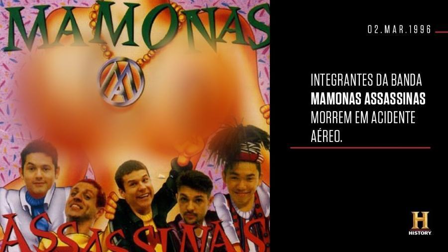 """Canal History """"censura"""" seios da capa do CD do Mamonas Assassinas na web - Reprodução/Twitter"""