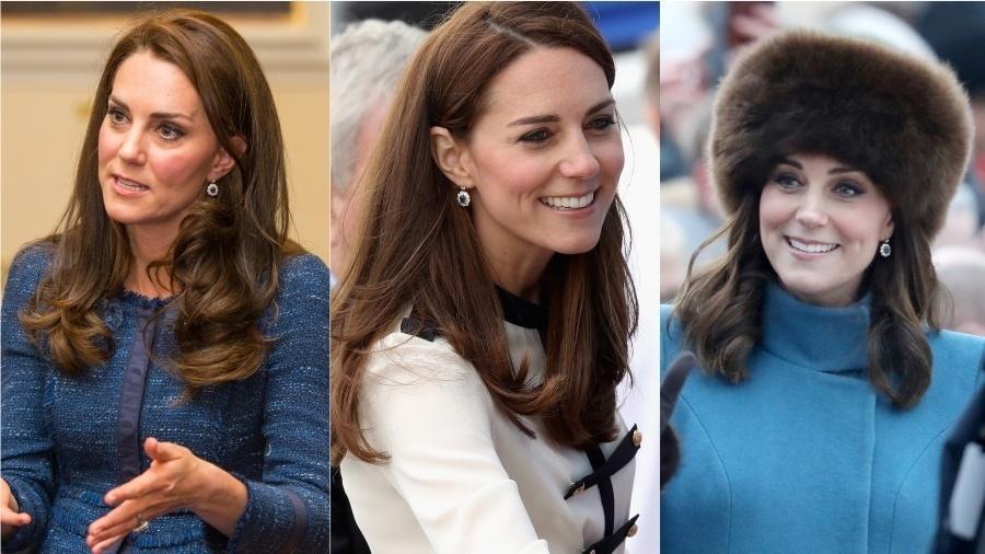 Combinação perfeita para o anel de noivado, estes brincos de safira e diamantes também raramente ficam de fora das produções de Kate Middleton. A joia que foi da princesa Diana acompanhou a duquesa de Cambridge em diversos eventos, de compromissos cotidianos a casamentos reais e viagens internacionais.