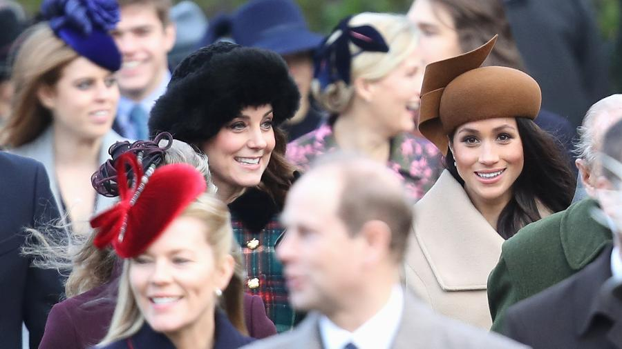 Kate Middleton e Meghan Markle durante as comemorações de Natal em 2017, em Norfolk - Getty Images