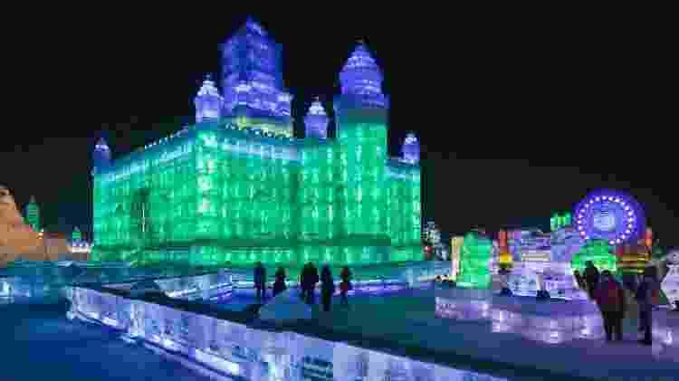 O International Ice and Snow Sculpture Festival de Harbin é uma popular atração turística - TonyV3112/Getty Images