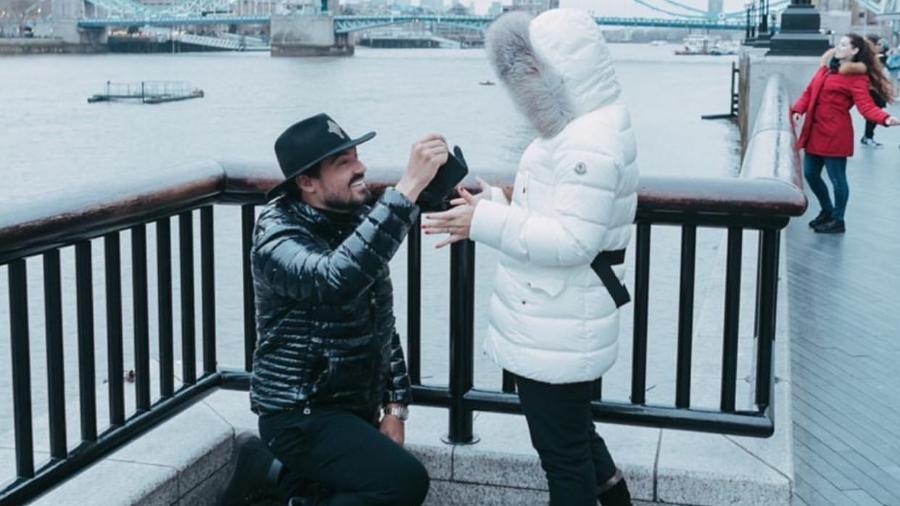 Fernando e Maiara: pedido de casamento fake também em Londres - Reprodução/Instagram