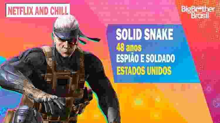 Snake no BBB - Montagem: Allan Francisco / Divulgação (Konami) - Montagem: Allan Francisco / Divulgação (Konami)
