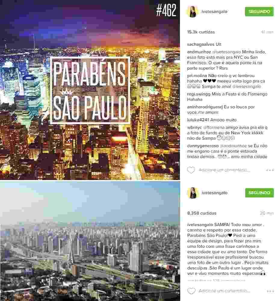 Ivete Sangalo se desculpa por foto de Nova York para homenagear São Paulo - Montagem/Reprodução/Instagram/ivetesangalo