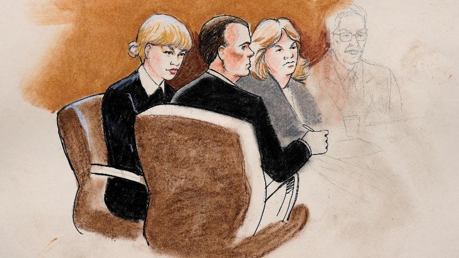 Desenho de Taylor Swift e seus advogados no tribunal federal de Denver, durante julgamento de agressão sexual - Jeff Kandyba/Reuters
