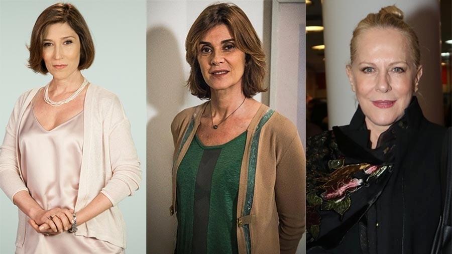 Beth Goulart, 56 anos, (esquerda) faria mãe de Mônica Torres (centro), 59 e foi substituída por Lucinha Lins, 64 - Montagem/UOL