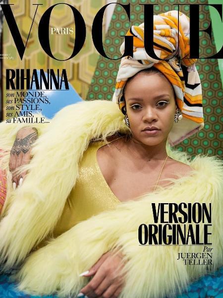 Rihanna em uma das capas, registrada por Juergen Teller - @vogueparis