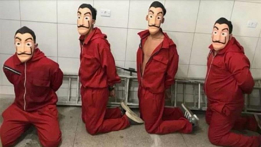 """Jovens vestidos como ladrões de """"La Casa de Papel"""" são detidos em presídio em Pernambuco - Reprodução"""
