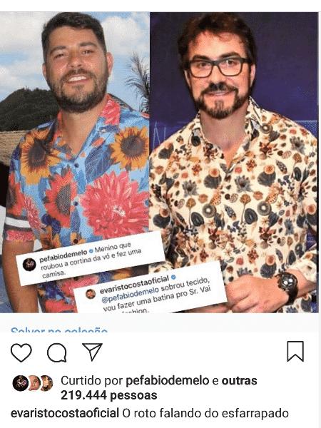 Evaristo Costa compara look com padre Fábio de Melo após ser zoado - Reprodução/Instagram