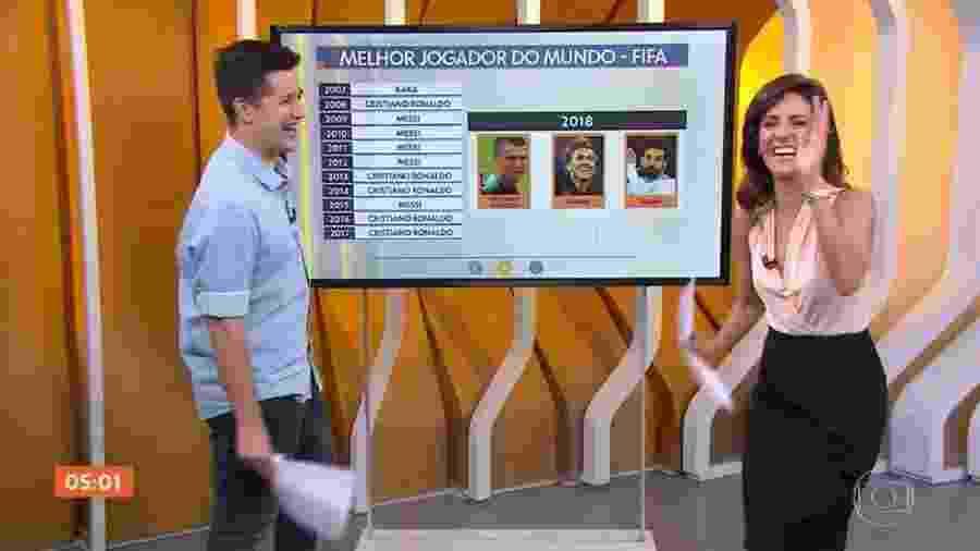 """Cassio Barco, apresentador do """"Hora 1"""", surpreendeu Monalisa Perrone ao dizer aos telespectadores: """"Façam filhos"""" - Reprodução/TV Globo"""