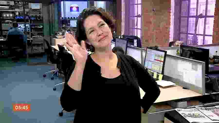 A jornalista Cecília Malan se despede da Globo antes de dar à luz sua primeira filha - Reprodução/TV Globo
