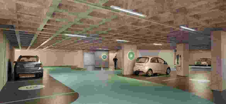 Perpectiva artística de garagem de empreendimento com carregadores nas vagas - Divulgação