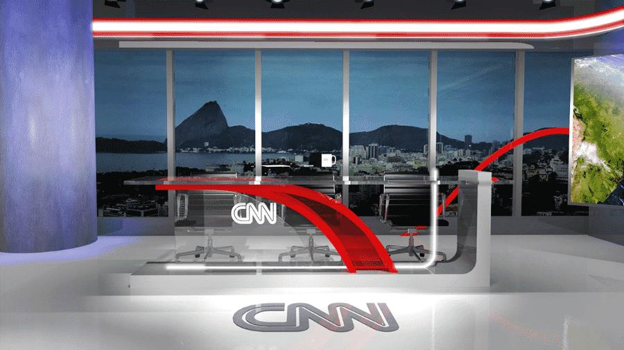 O primeiro cenário da CNN Brasil no Rio de Janeiro; ao fundo o Pão de Açúcar - Divulgação/CNN Brasil - Spokesman