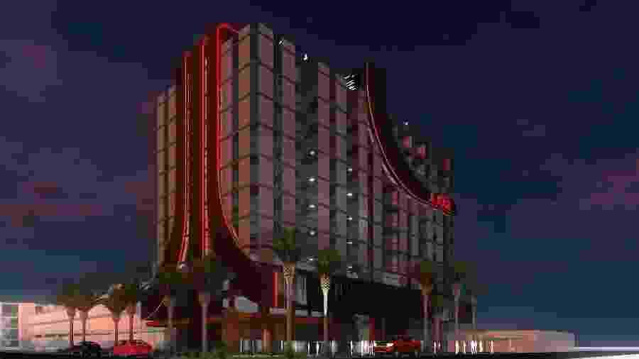 A fachada do que será o primeiro hotel com temática do game clássico Atari - Reprodução/Facebook