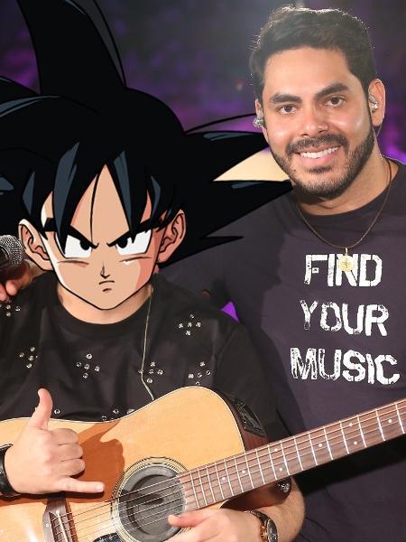 Montagem com Goku (personagem de Dragon Ball) e o sertanejo Rodolffo - montagem com fotos de reprodução e divulgação