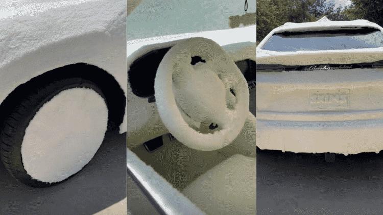 Kim cobriu o carro todo com o tecido da nova coleção  - Reprodução/Instagram - Reprodução/Instagram
