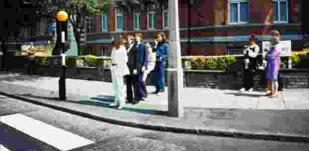 """A foto da foto: os Beatles momentos antes de posarem para a foto de """"Abbey Road"""" - Reprodução - Reprodução"""