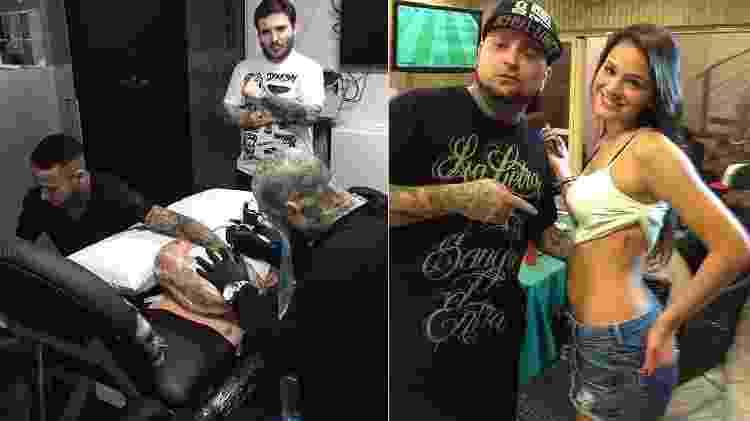 Neymar e Bruna Marquezine já tatuaram no mesmo estúdio que Rafaella Santos fez o próprio rosto - Montagem/Reprodução/Náutica Tattoo - Montagem/Reprodução/Náutica Tattoo