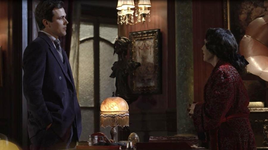 """Vicente (Bruno Ferrari) enfrenta Madame Lucerne (Regina Duarte) em """"Tempo de Amar""""  - Reprodução/GShow"""