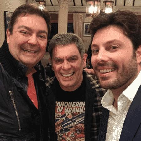 Fausto Silva, Roger e Danilo Gentili na casa do apresentador da Globo em São Paulo - Reprodução/Instagram