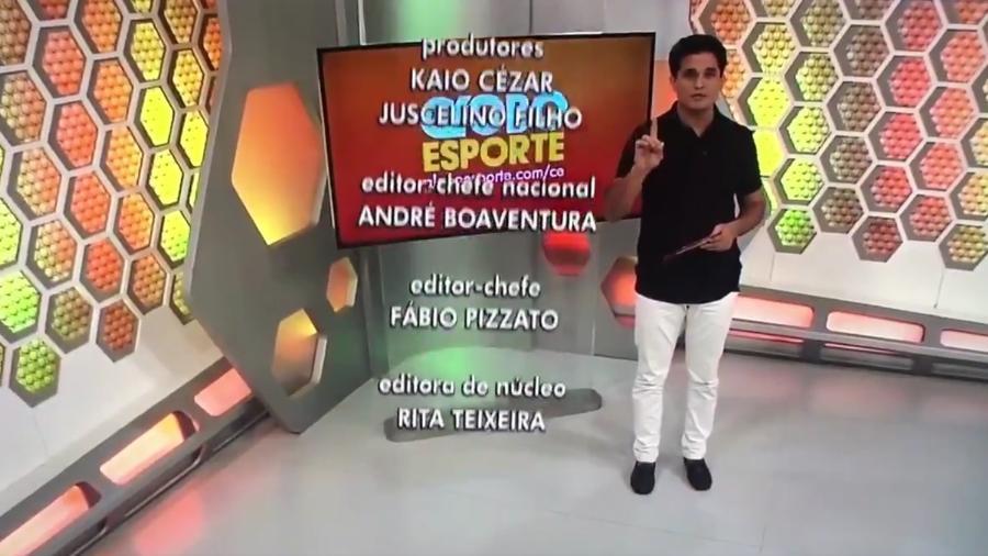 """O apresentador Kaio Cezar se demite ao vivo no """"Globo Esporte"""" do Ceará - Reprodução/TV Verdes Mares"""