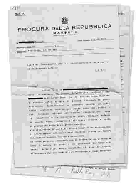 Documento com o qual tribunal solicita, em agosto de 1991, proteção policial para Piera Aiello - Reprodução - Reprodução