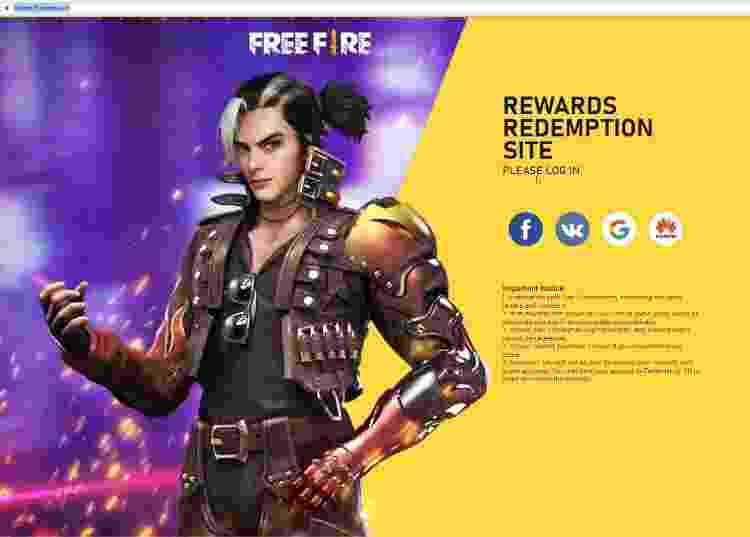 Free Fire Rewards 1 - Reprodução - Reprodução