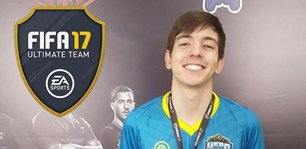 """Rafael """"Rafifa13"""" Fortes venceu a última final regional do modo Ultimate Team de """"FIFA 17"""", realizada em Miami (EUA) no final de fevereiro - Montagem/UOL"""