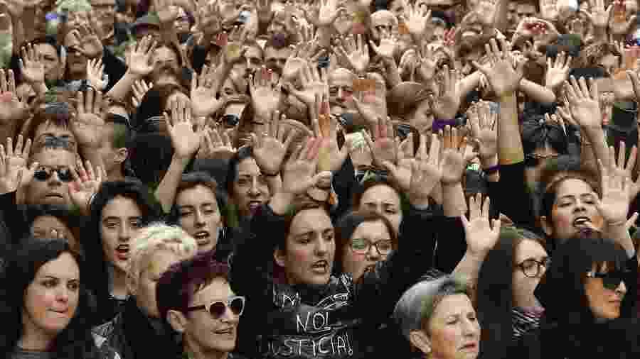 Caso de estupro coletivo gerou protestos nas ruas da Espanha - AFP/ Xabier Lertxundi