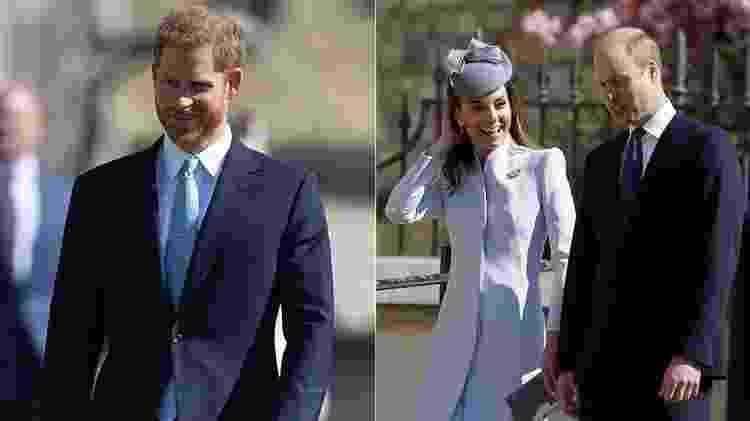 Harry, que foi sem Meghan, Kate Middleton e William comparecem a missa de Páscoa - AFP - AFP
