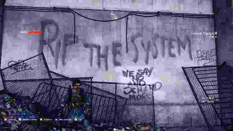 """""""The Division 2"""" se passa em uma Washington destruída, com mensagens de protesto a cada esquina - Reprodução"""