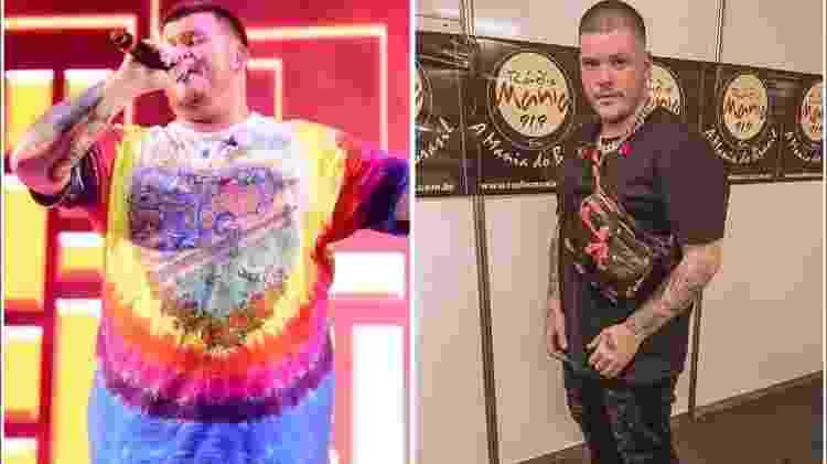 O antes e o depois de Ferrugem após eliminar 25 quilos - Reprodução/ Instagram