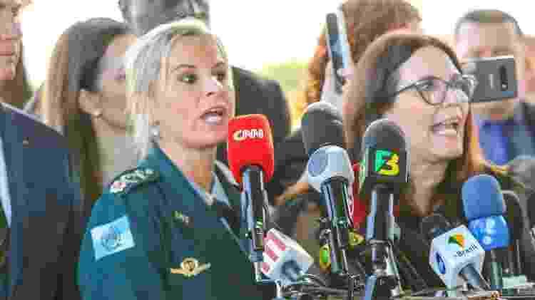 As deputadas Bia Kicis e Major Fabiana em coletiva nesta quarta-feira (29/40 em defesa do presidente Bolsonaro - WAGNER PIRES/FUTURA PRESS/ESTADÃO CONTEÚDO - WAGNER PIRES/FUTURA PRESS/ESTADÃO CONTEÚDO