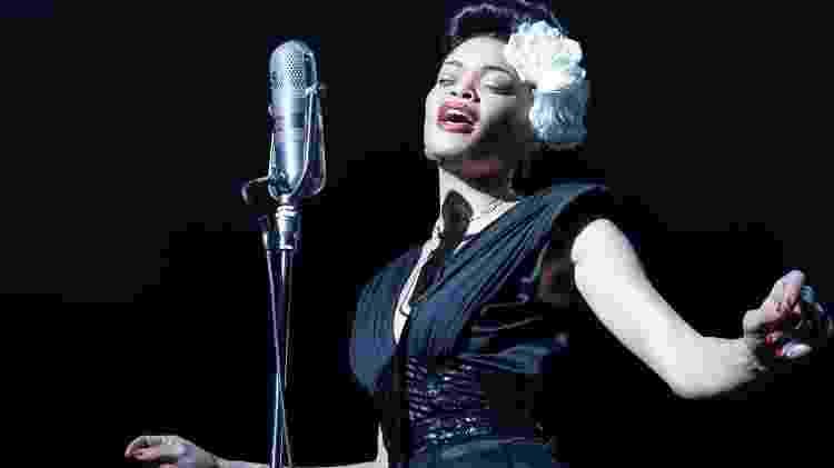 """Andra Day como Billie Holiday, em """"Estados Unidos vc Billie Holiday""""; ela concorre à estatueta de """"melhor atriz"""" - Reprodução - Reprodução"""