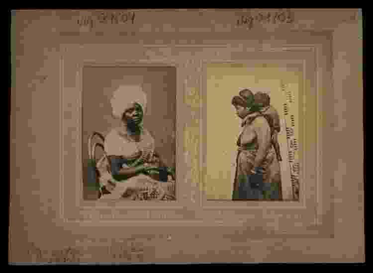 Imagens de estúdio feitas por Marc Ferrez com mulheres escravizadas: escravidão durou tanto tempo no Brasil que chegou a ser retratada pela fotografia - Biblioteca Nacional via BBC - Biblioteca Nacional via BBC