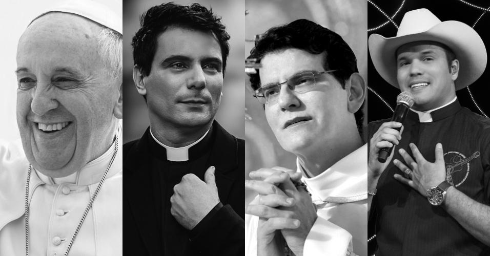 Montagem para matéria dos padres cantores. Papa Francisco, padre Juarez de Castro, padre Reginaldo Manzotti e padre Alessandro Campos