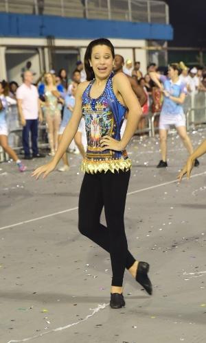 25.jan.2016 - A Nenê de Vila Matilde fez seu ensaio técnico no sambódromo do Anhembi, em São Paulo, na noite de domingo (24). A atriz Claudia Raia é a homenageada da escola, e a filha da diva - Sophia - é estrela da comissão de frente