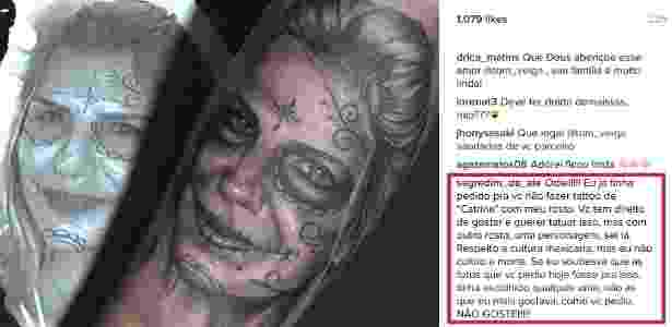 """Tatuagem do manipulador de Louro José para sua mulher, que """"odiou"""" a homenagem - Reprodução/Instagram/tom_veiga"""