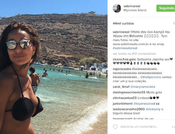11.jul.2016 - De férias na Grécia, Sabrina Sato surpreendeu por usar b9f1b545d7