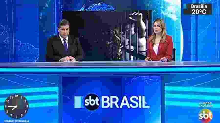 """Rachel Sheherazade e Carlos Nascimento apresentam o """"SBT Brasil"""", principal telejornal do SBT - Reprodução/SBT"""