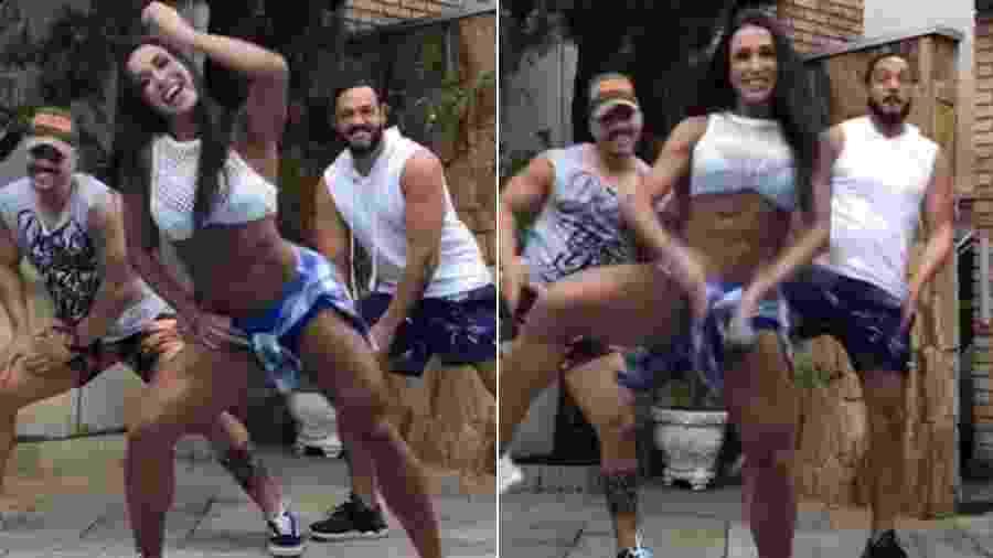 Sandes Marques, Gracyanne Barbosa e Belo fazem coreografia - Reprodução/Instagram